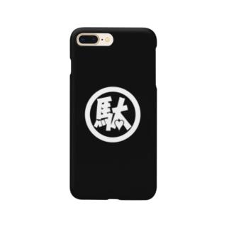 駄ポン【ベタ】白ロゴ×黒地 スマートフォンケース
