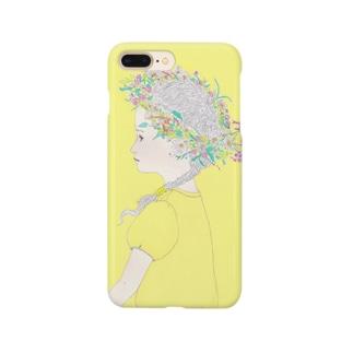 庭にて-レモンイエロー Smartphone cases