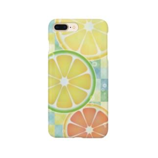 シトラス ソーダ (レモン ライム グレープフルーツ/チェック) Smartphone cases