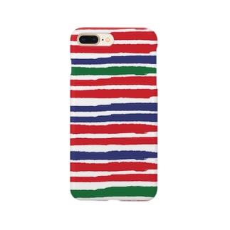 ボーダー 赤・紺・緑 Smartphone cases