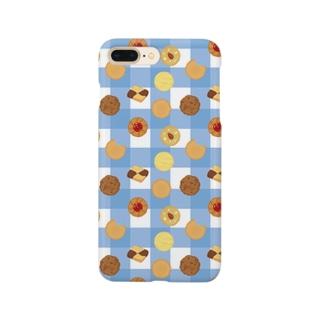 クッキーのチェック(あお) Smartphone cases