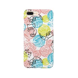 dandyism-neco.com goodsの毛玉ネコ柄スマホケース Smartphone cases