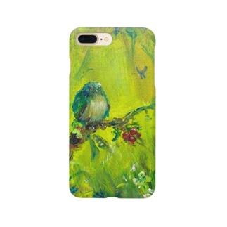 ムラナギ/青い鳥と赤い実のある森の入口 スマートフォンケース