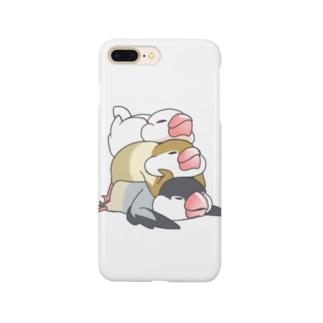 文鳥のスタンプ Smartphone cases
