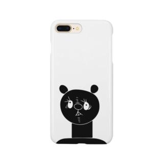 首の長い熊(黒) Smartphone cases