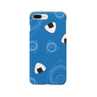 回れ焼きおにぎり 青色 Smartphone cases