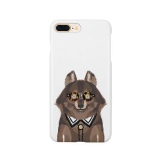 メガネをセロファンテープで貼り付けたオオカミ Smartphone cases