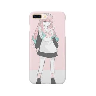 粟屋やわ子のメイド服の女の子(ピンク) Smartphone cases