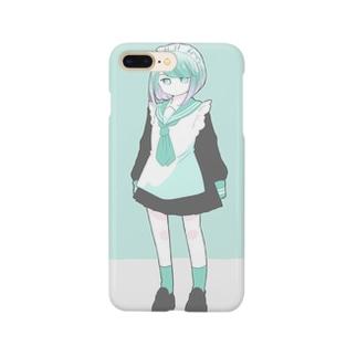 メイド服の女の子(ミント) Smartphone cases