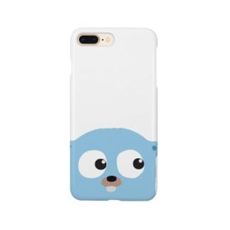 チラッと見てるGopherくん(半身) Smartphone cases