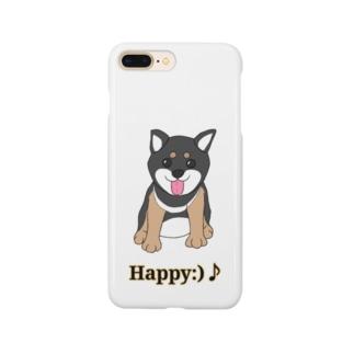 うるうる黒柴犬ちゃん 英語ロゴ Smartphone cases