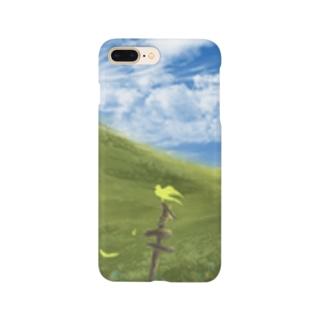 黄色の鳥と丘 Smartphone cases