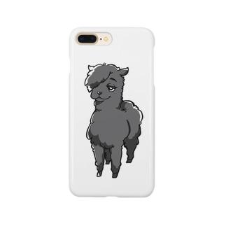 イケてるアルパカ(黒) Smartphone cases