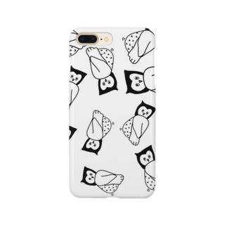 ゆる〜いフクロウのスマホケース(白) Smartphone cases