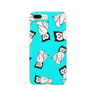 ゆる〜いフクロウのスマホケース(ミント) Smartphone cases