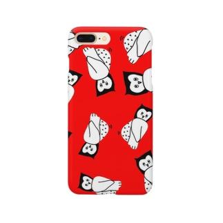 ゆる〜いフクロウのスマホケース(赤) Smartphone cases