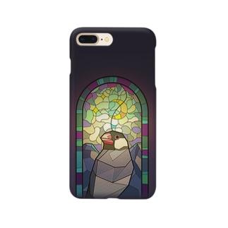 聖フィンチ教会・桜文鳥 Smartphone cases