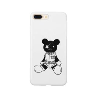 黒クマ君モノクロ Smartphone cases
