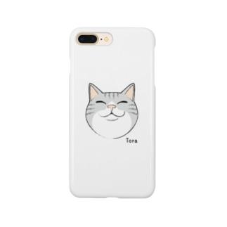 ほほえみ猫 スマートフォンケース(トラ/グレー) Smartphone cases