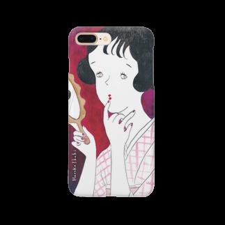 伊吹春香の手鏡と着物の女の子 Smartphone cases