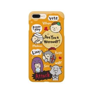 大阪人狼ラボのゆるかわ人狼くんわいわいオレンジ Smartphone cases