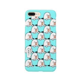 穴から出過ぎてるやつ(blue) Smartphone cases