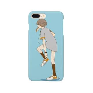 パン食い女子 スカイブルー Smartphone cases