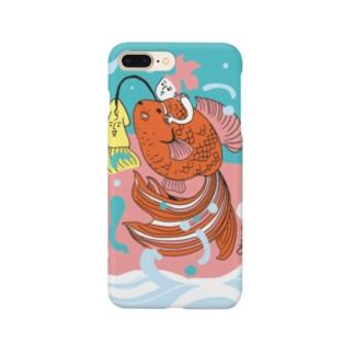 跳ね金魚(背景カラー) Smartphone cases