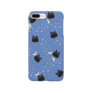 黒猫と月 Smartphone cases