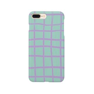 ゆるいチェック(みどり×むらさき) Smartphone cases