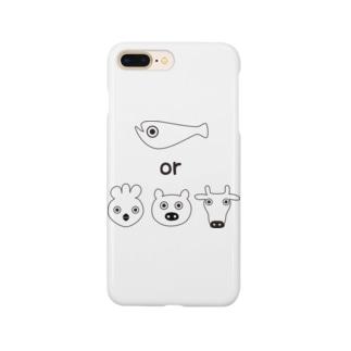 フィッシュorミート  ホワイト Smartphone cases