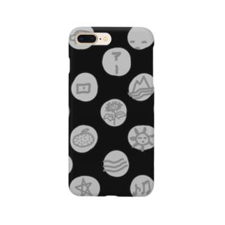 水玉 落書き 黒 Smartphone cases