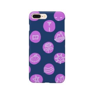 水玉 落書き 紺ピンク Smartphone cases