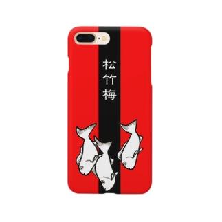 松竹梅 red & black Smartphone cases