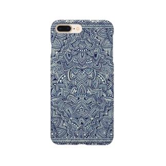 紺の侵食的幾何学 Smartphone cases