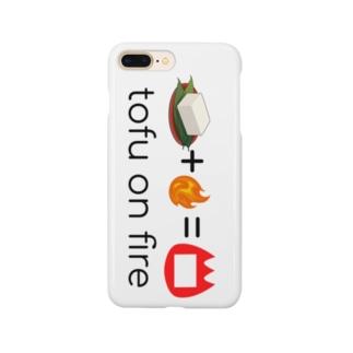 テストに出る豆腐オンファイヤーのスマホケース Smartphone cases