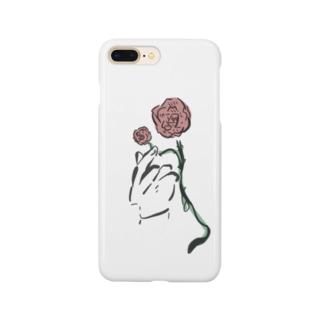 手とバラ Smartphone cases