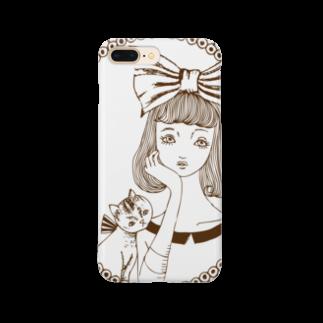 トシダナルホの頬杖ガール Smartphone cases