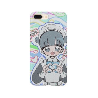 お団子青メイドちゃん(カラフル) Smartphone cases