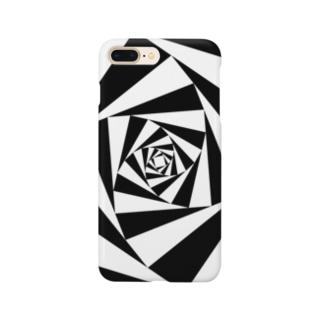スパイラルかざぐるま(モノクロ) Smartphone cases