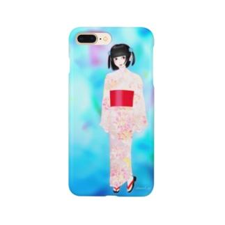 【浴衣少女】夏の風 Smartphone cases
