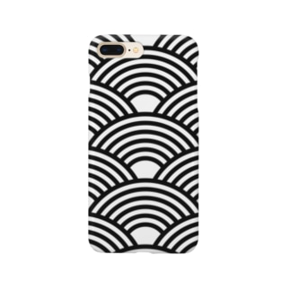 SEIGAIHA01(モノクロ) Smartphone cases