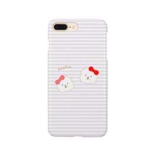 ビションフリーゼ犬【ふぅふぅ】iphoneアイフォンケースパープル Smartphone cases
