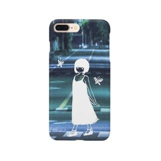 夏の夜の蝶と女の子 Smartphone cases