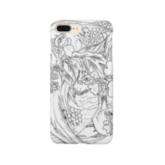 日本の美 葛飾北斎「群鶏」モノクロ版 Smartphone cases