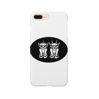 ふたりの子鬼(楕円) Smartphone cases