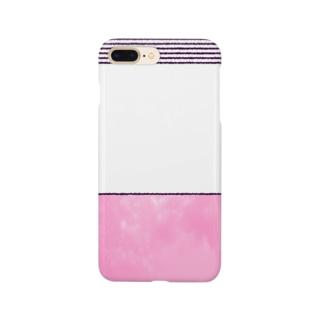 横縞とピンク Smartphone cases