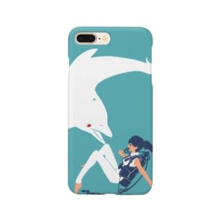白イルカとダイバーちゃん Smartphone cases