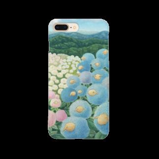 ひつじ好きの未草のギャラリーの紫陽花ひつじ Smartphone cases