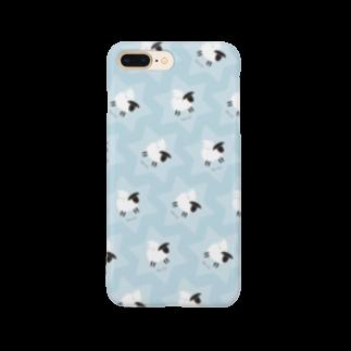 一羽のすずめのDove on the Sheep [blue] Smartphone cases